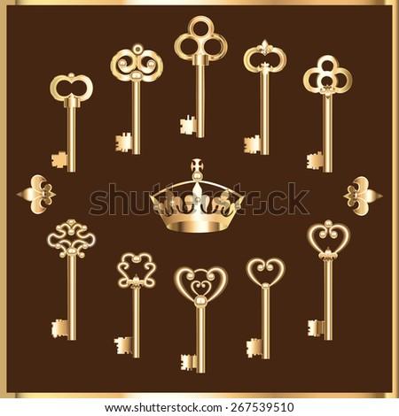 illustration of set of vintage gold keys - stock vector