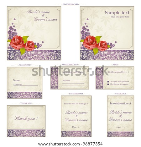 illustration of set of wedding reception invitation card in vintage style - stock vector