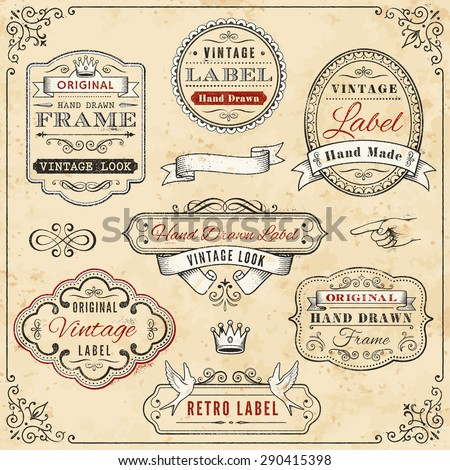 Illustration of seven hand-drawn vintage labels against a weathered, cream-colored background, bordered with a vintage design - stock vector
