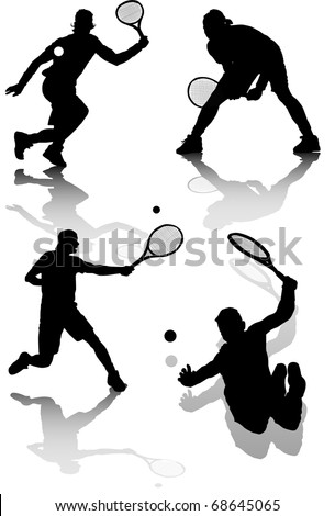 illustration of several silhouettes of tennis players