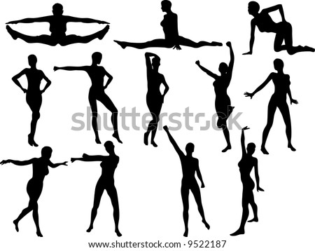 Illustration of Sexy Cheerleader Silouettes - Vector - stock vector