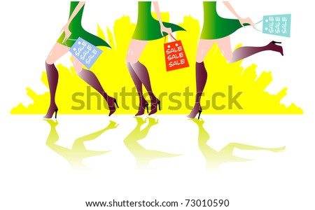 illustration of sexy long - legs woman with shopping bags 3 girls
