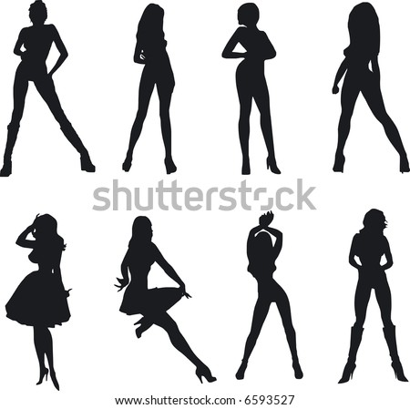 Illustration of sexy woman silhouettes - stock vector