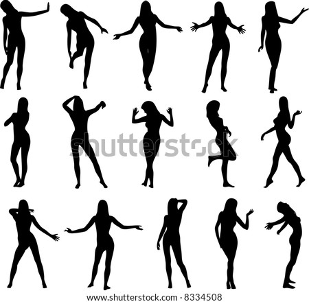 Illustration of sexy woman silhouettes