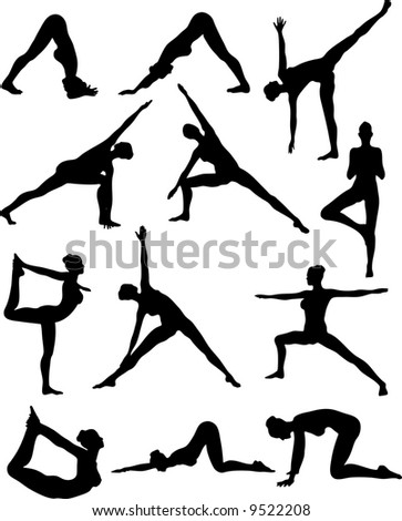 Illustration of Sexy Yoga Silouettes - Vector - stock vector