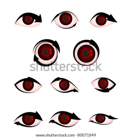 illustration of shape of angry eye with arrow