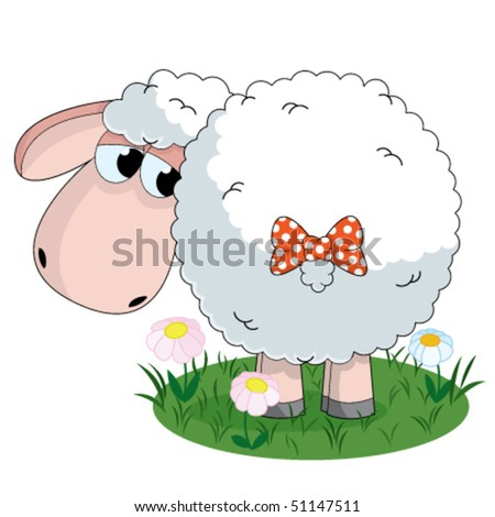 Illustration of sheep looking on the tail with bow on pasture - stock vector