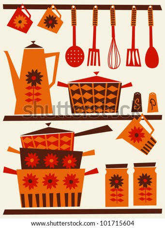 Illustration of shelves with kitchen utensils and dishware in retro style. - stock vector