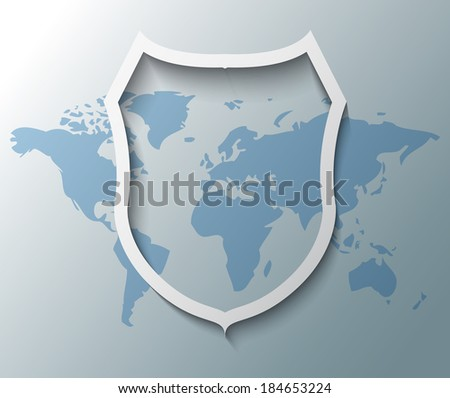Illustration of shield sign with world map - stock vector