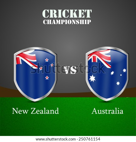 Illustration of Shield with Australia Flag and New Zealand Flag for Cricket background - stock vector