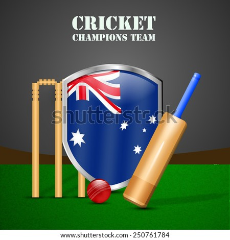 Illustration of Shield with Australia Flag with Cricket elements - stock vector