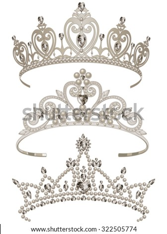 Illustration of shining tiaras set - stock vector