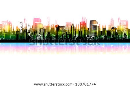 illustration of shiny night city scape with tall tower - stock vector