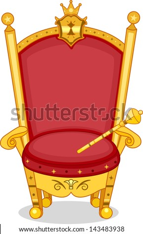 Illustration of Shiny Red and Gold Royal Chair with Scepter - stock vector
