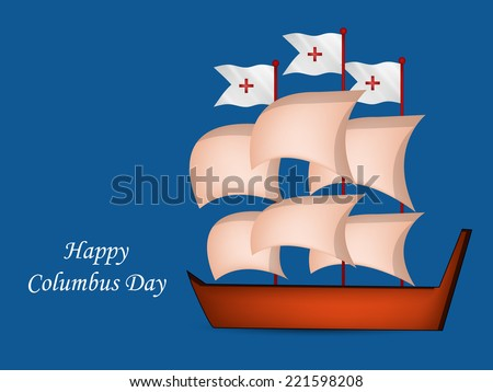 Illustration of ship for Columbus Day