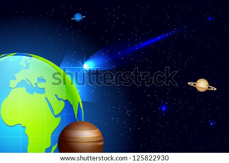illustration of shooting comet coming towards earth in universe - stock vector