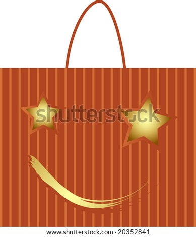 Illustration of shopping bag with xmas stars - stock vector