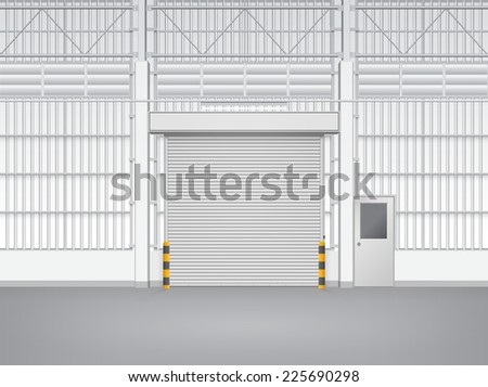 Illustration of shutter door and steel door inside factory, gray color. - stock vector