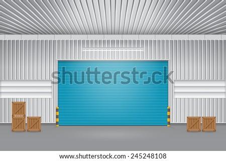 Illustration of shutter door outside factory, blue color. - stock vector