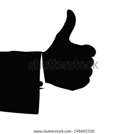illustration of silhouette hand of businessman with thumb is up isolated