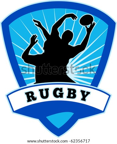 """illustration of silhouette of rugby player jumping to catch line-out throw set inside shield with words rugby"""" - stock vector"""