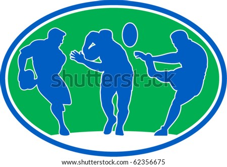 illustration of silhouette of rugby player running passing fending and kicking the ball set inside an oval or ellipse - stock vector