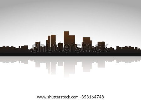 illustration of silhouette of the big city with reflection on bright background - stock vector