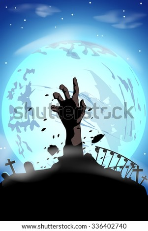 illustration of silhouette zombie hand at the moon - stock vector