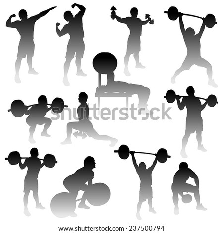 illustration of silhouettes of athletes with gradient - stock vector