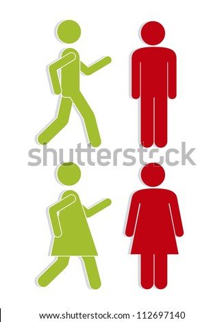 Illustration of silhouettes of man and woman in red and green, signaling, vector illustration - stock vector