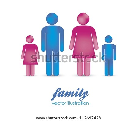 Illustration of silhouettes of people that make a family, vector illustration - stock vector