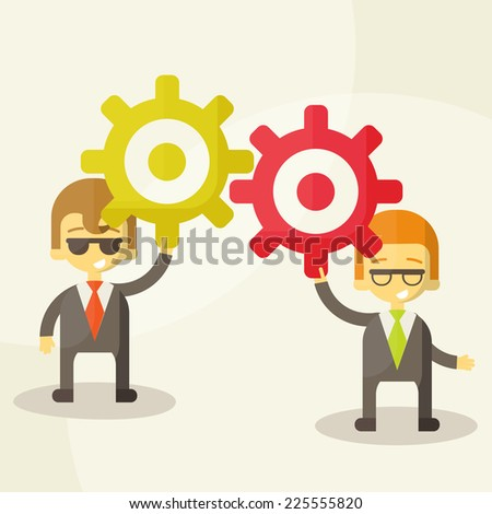 Illustration of silhouettes with gears, team work, Vector Illustration - stock vector