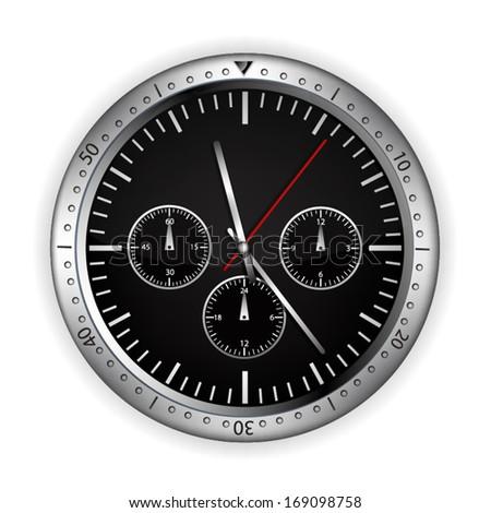 Illustration of silver clock - stock vector