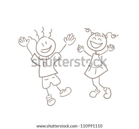 Illustration of simple hand drawn kids , original sketch - stock vector