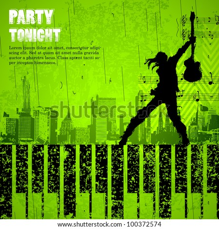 illustration of singer performing with mike on grungy cityscape background - stock vector