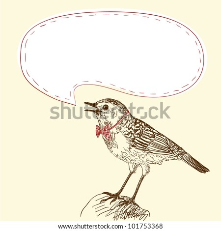 Illustration of singing bird with your text - stock vector