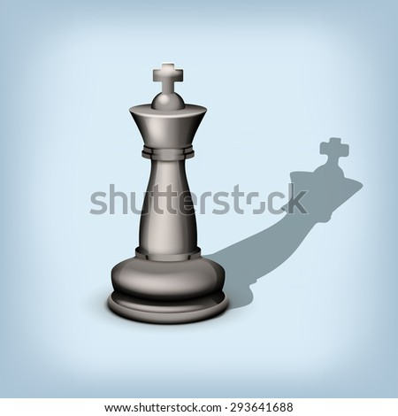 illustration of single black king with shadow on blue background - stock vector