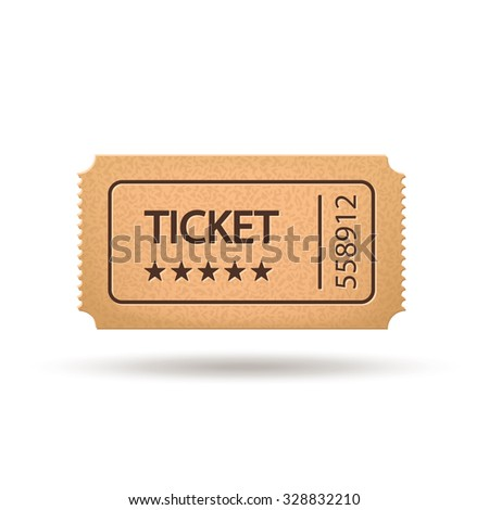 illustration of single movie ticket with shadow on white background