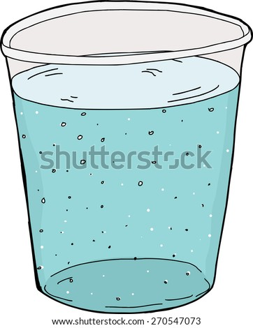 Illustration of single plastic cup of carbonated water