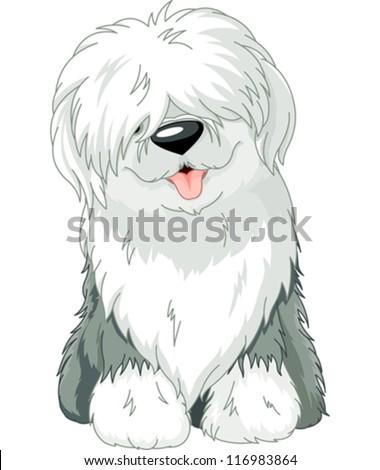 Illustration of sitting funny Old English Sheepdog - stock vector
