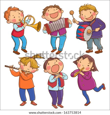 Illustration of Six Children Playing Musical instruments. SET. Children illustration for School books, pictures books, magazines, advertising and more. Separate Objects. VECTOR. - stock vector