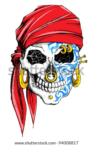 illustration of skull decorated with tattoo on white background - stock vector