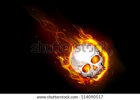 illustration of skull falling with fire flame