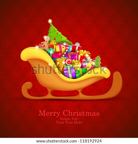 illustration of sledge full fo Christmas gifts - stock vector