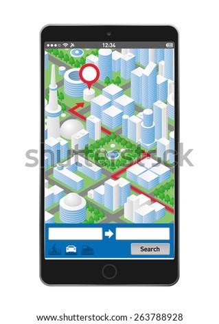 Illustration of smartphone navigation app - stock vector