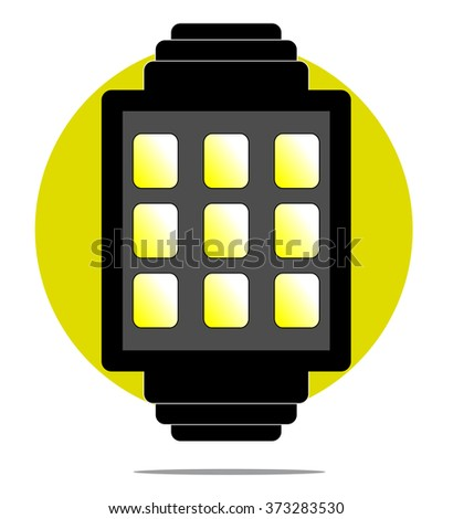 Illustration of smartwatch with green circle background - stock vector