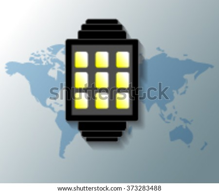 Illustration of smartwatch with grey world map background - stock vector