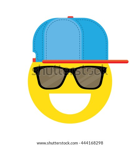 illustration of smiley face with sunglasses icon isolated on white - stock vector