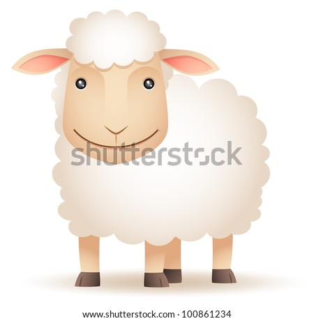 Illustration of smiley Sheep - stock vector