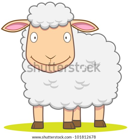 Illustration of smiley Sheep in cartoon style - stock vector